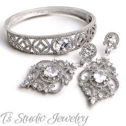 Pave CZ Bridal Bracelet & Earrings Set