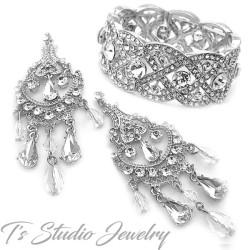 Silver Crystal Bridal Bracelet & Earrings