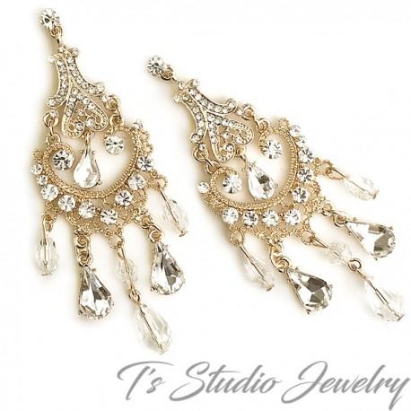 Long Gold Crystal Bridal Chandelier Earrings