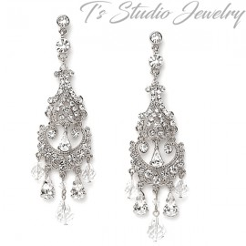Long Silver Crystal Bridal Chandelier Earrings