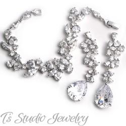 Silver CZ Wedding Bracelet & Earrings Set