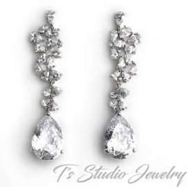 Pear CZ Bridal Chandelier Earrings