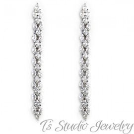 Long Marquise CZ Bridal Earrings