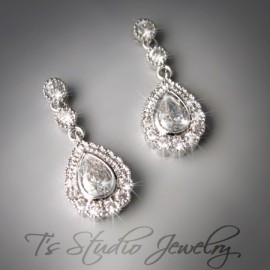 Small Teardrop Pear Shape Cubic Zirconia Bridal Earrings