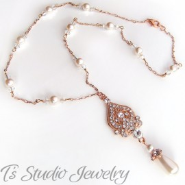 Pearl & Rose Gold Chain Bridal Necklace