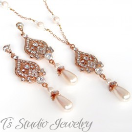 Pearl & Rose Gold Bridal Necklace & Earrings Set