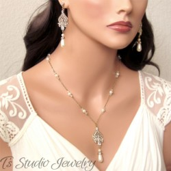 Pearl & Chain Bridal Necklace & Earrings Set