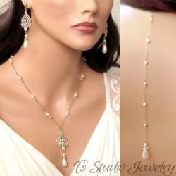 Pearl Bridal Backdrop Necklace & Earrings Set