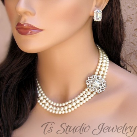 3 Strand Pearl Bridal Necklace