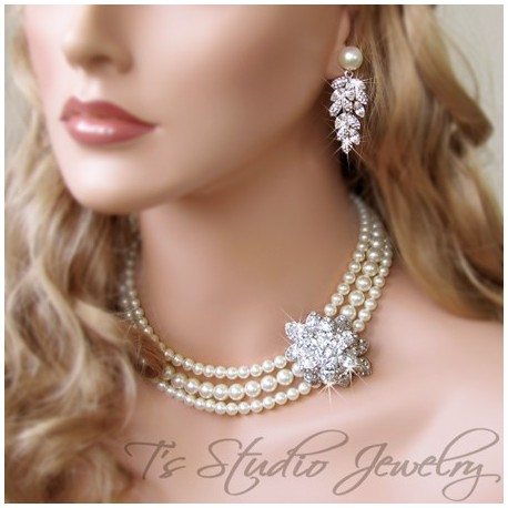 3-Strand Pearl Bridal Necklace with Crystal Flower Center