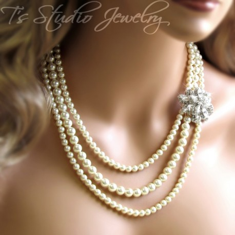 3 Strand Long Pearl Bridal Necklace