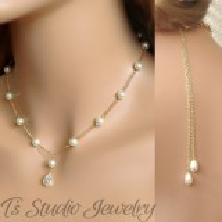 Pearl Backdrop Lariat Bridal Necklace