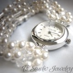 Swarovski Pearl Bridal Bracelet Watch