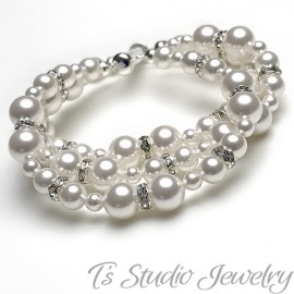3-Strand Pearl Bridal Wedding Bracelet
