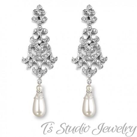 Crystal Rhinestone and Pearl Bridal Chandelier Earrings