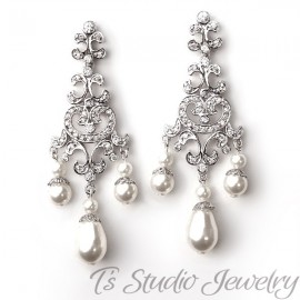 Pearl Rhinestone Bridal Chandelier Earrings