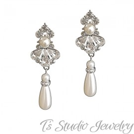 Crystal and Pearl Bridal Wedding Earrings