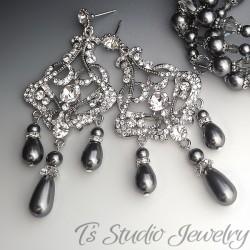 Dark Grey Pearl Rhinestone Chandelier Earrings