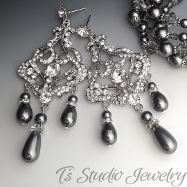 Dark Grey Pearl Rhinestone Chandelier Earrings