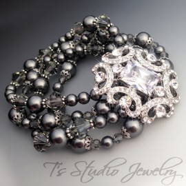 Dark Charcoal Grey Pearl Bridal Bracelet