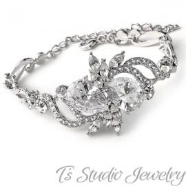 Pear CZ Silver Bridal Bracelet