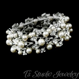 Silver & Ivory Pearl Bridal Cuff Bracelet