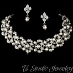 Ivory Pearl Bridal Choker Necklace Set