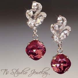 Cushion Cut Colored Earrings
