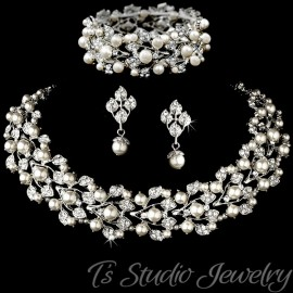 Ivory Pearl Bridal Jewelry Necklace Set