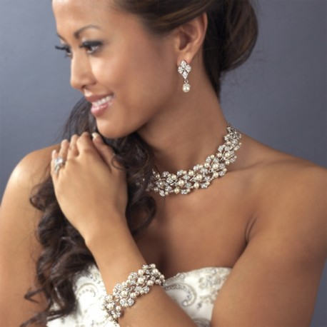 Silver Ivory Pearl Crystal Wedding Bridal Choker Necklace Earring Set