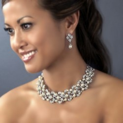 Pearl Bridal Necklace Earring Set