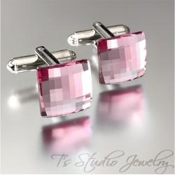 Light Rose Pink Crystal Square Cufflinks