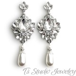 Vintage Style Pearl Bridal Chandelier Earrings
