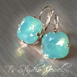 Cushion Cut Bridesmaid Earrings - Pacific Opal