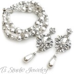 Pearl Bridal Bracelet & Earrings Set