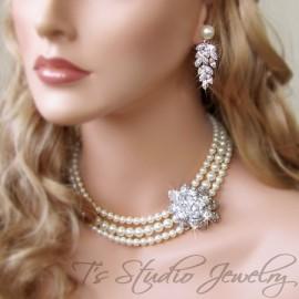 CAROLYN Pearl Bridal Necklace
