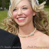 Pearl Choker Bridal Necklace with Crystal Flower