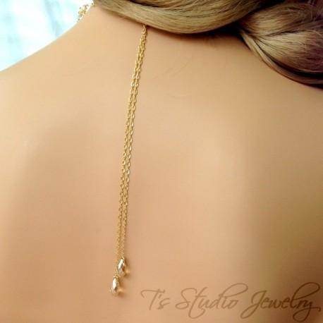 Gold Crystal Back Drop Lariat Bridal Necklace Backdrop