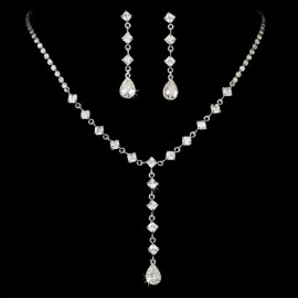 Square CZ Cubic Zirconia Bridal Jewelry Set
