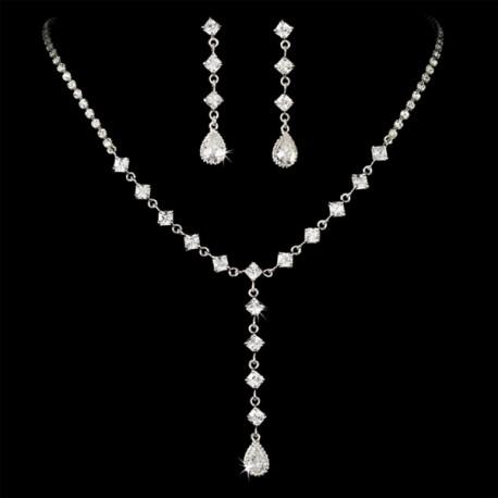 Square CZ Bridal Jewelry Set