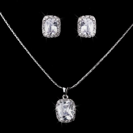 Cushion Cut CZ Bridal Jewelry Set