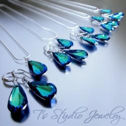 Blue Aqua Crystal Teardrop Bridesmaid Set