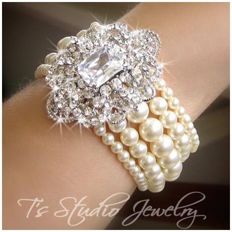CAMILLE Pearl Cuff Bridal Bracelet