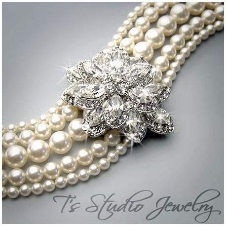 Pearl Cuff Bridal Bracelet 5 Strand with Crystal Flower