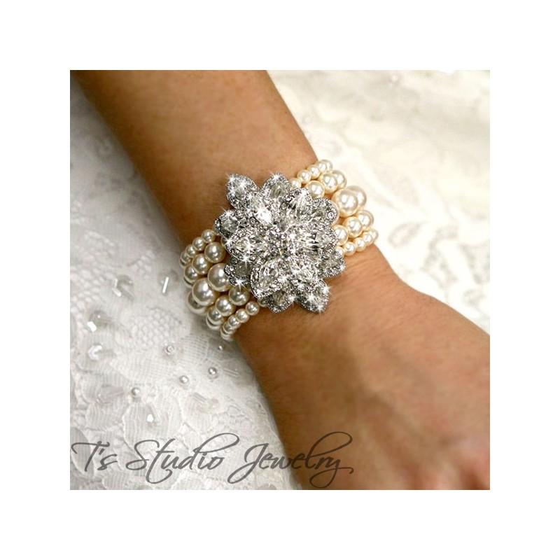 Vintage Antique Theme Champagne Pearl Bridal Cuff Bracelet