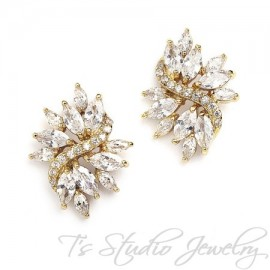 Marquis CZ Cubic Zirconia Crystal Cluster Gold Bridal Stud Earrings