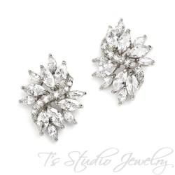 Marquis CZ Crystal Bridal Earrings