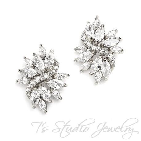 Marquis CZ Cubic Zirconia Crystal Cluster Bridal Stud Earrings