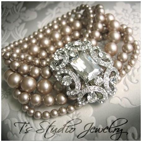 Pearl Vintage Theme Bridal Cuff Bracelet