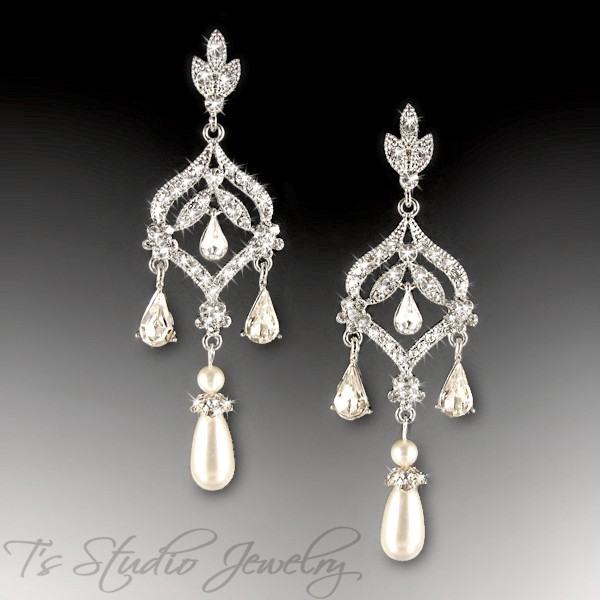 Ivory or White Pearl Long Bridal Chandelier CZ Earrings - DAPHNE